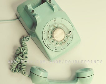 Fine Art Photograph, Turquoise Phone Photograph, Vintage Telephone