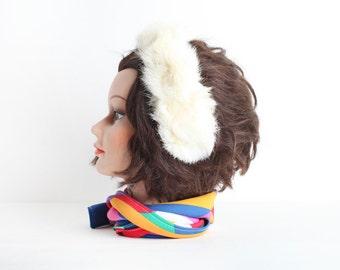 Vintage Child Size White Fur Ear Muffs