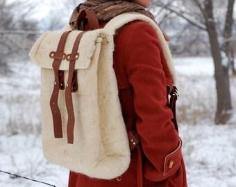 Felted Backpack // Wet Felt // Minimalist Day Bag