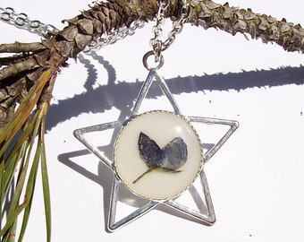 Texas Star Bluebonnet Real Pressed Flower Resin Pendant Necklace