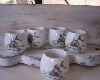 Porcelain cup/Small Tea cup/Japanese vintage Saki cup/Japan tea cups/Traditional tea cup/Asian tea cup/Gold trim small cups/Hand painted cup