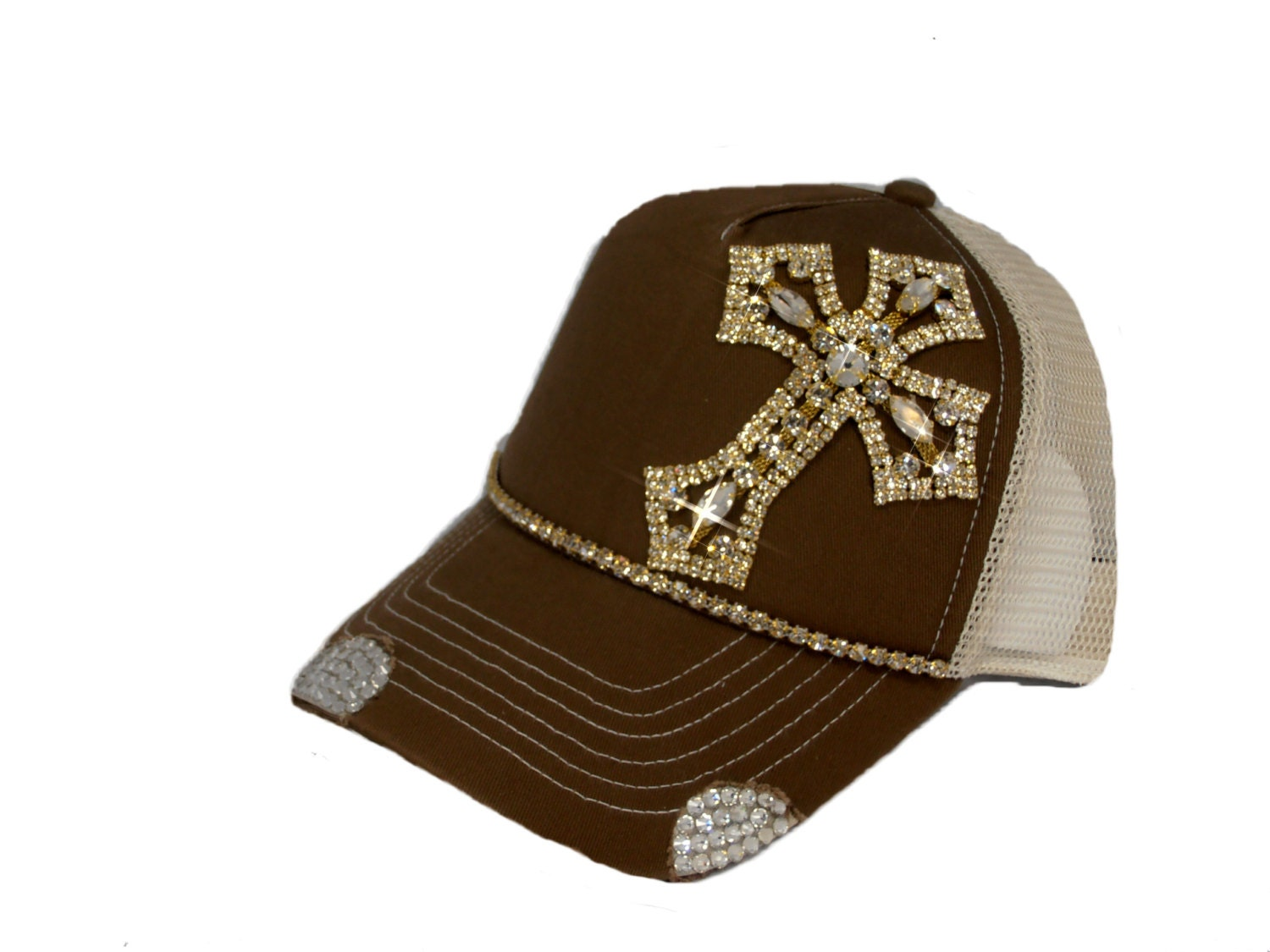 brown bling womens trucker hat by timetwochange on etsy
