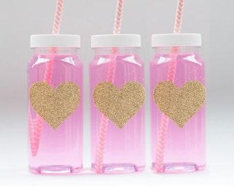 25 or more Glitter Heart Milk Bottles, Glitter Heart Labels, French Square Milk Bottles With Caps