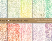 Digital Paper - Ombre Multi Bokeh - Blue, Green, Yellow, Aqua, Turquoise, Pink... Scrapbook Papers for Scrapbook, Invites, Cards, Crafts...