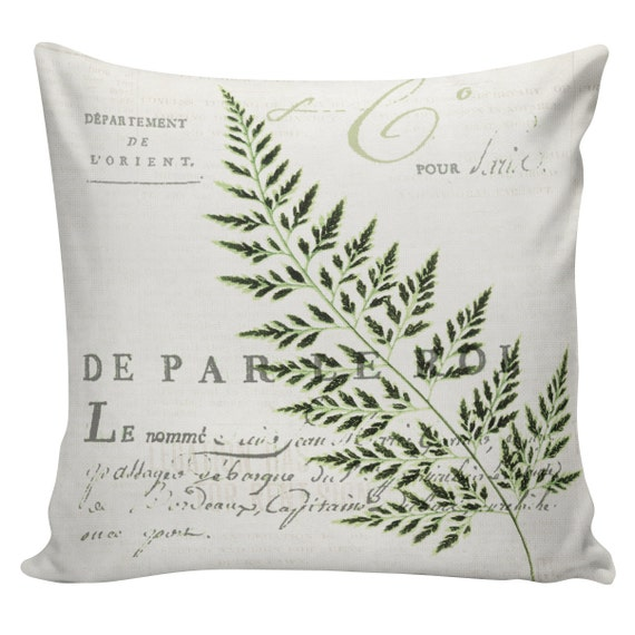 Items similar to Pillow Cover French Style Burlap Cotton Throw Pillow French Kitchen Fern SP-65 ...