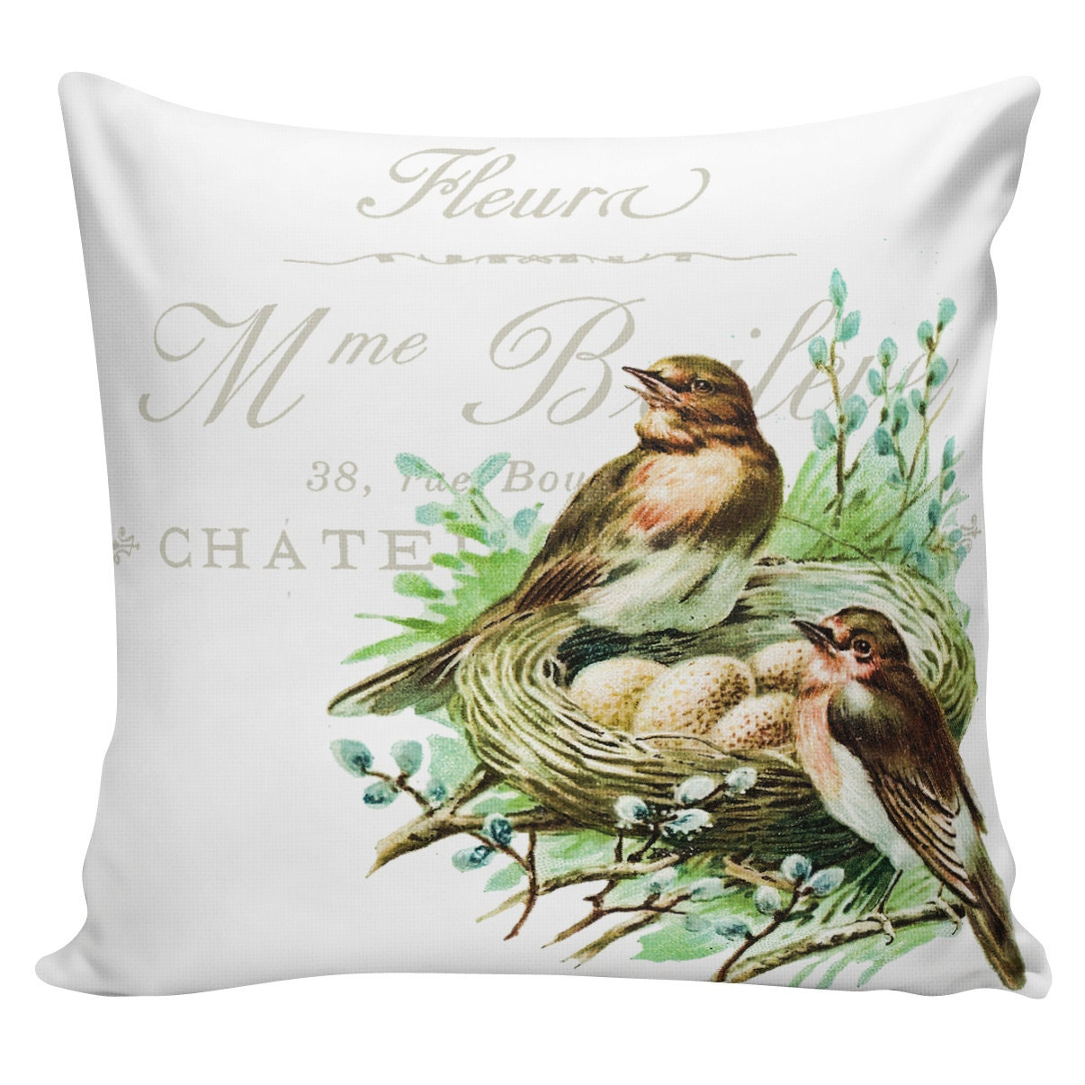 Easter Throw Pillow Covers : Easter Pillow Cover French Throw Pillow Farmhouse Bird Nest