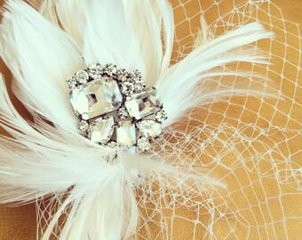 Wedding Veil Birdcage + Feathers + Rhinestones - Think Sex in the City - BRAND NEW