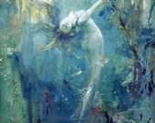 MERMAID In Luscious Murky Sea! Vintage Mermaid Illustration. Digital Mermaid Download. Vintage Digital Mermaid Printable Image.