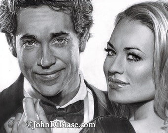 "Drawing Print of Zachary Levi and Yvonne Strahovski from the TV Show ""Chuck"""