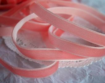 """PINK SALMON Velvet 3/8"""" Ribbon"""