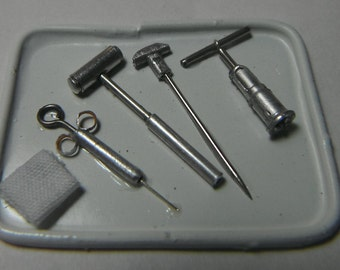 Dollhouse miniature handcrafted Medical asylum Lobotomy tools trephine tray 1/12th scale