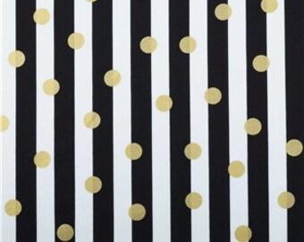 Metallic Gold Dot Fabric on Black and White Stripe