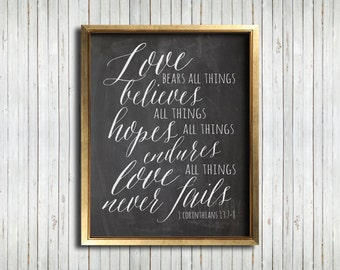 Love Never Fails Print - Chalkboard, DIY, Printable, 1 Corinthians 13, Scripture