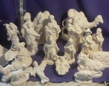 "Vintage Atlantic Nativity 19 piece set ready to paint 5"" to 7"" ceramic bisque"