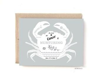 Cancer Zodiac Birthday Card The Crab, Birthday greeting card June July Birthday