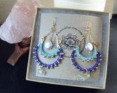 SALE// Ocean Goddess/ Gold Turquoise Royal Blue/ Macrame Chandelier Earrings/ Coin Pearl and Aquamarine/ Bohemian/ Beach/ Mermaid Adornment
