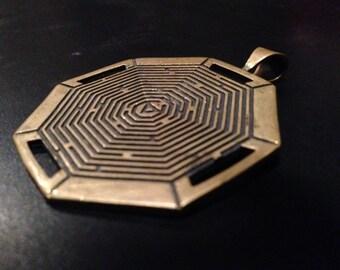 On Sale- Hexagon labyrynth pendant- Brass pendant - Hexagon pendant