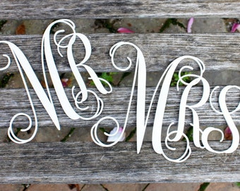 "Wedding Signs, Mr and Mrs Signs, Chair Signs, Reception Decor, 6"" set of Mr/Mrs - UNFINISHED"
