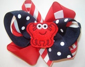 Girls, Toddlers, Infants M2M Mud-Pie Crab Collection Triple Loop Boutique Bow in Red, Navy and Red/White Stripe with Embroidered Crab Feltie