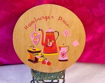 Vintage 1950's Hamburger Patty Press - Featuring Coffee Pots in Pink - Very Rare and Unusual