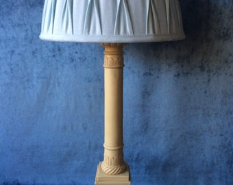 Sale. Free shipping. Vintage classic marble lamp in a form of a pillar with decorative ornaments.