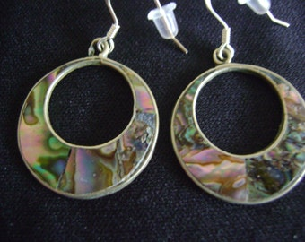 Alpaca Loop Earrings with Abalone