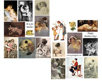 M is for Mother digital collage set