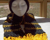 Black and Gold Team Spirit Hat and Scarf