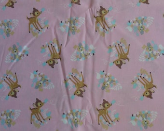 Pink Bambi and Thumper Fabric by the Yard