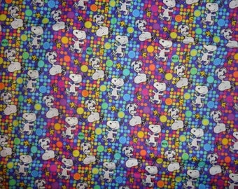 Blue Snoopy/Woodstock Neon Dots  Cotton Fabric by the half yard