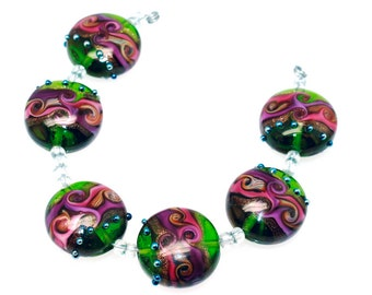 Pearly Karpel Lampwork Beads (6) SRA Made To Order Handmade