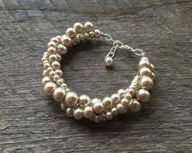 SUMMER SALE Champagne Pearl Bracelet Twisted Clusters on Silver or Gold Chain