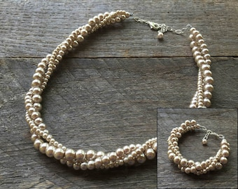 Champagne Pearl Necklace Bracelet Bridal Set Bridesmaid Set Pearl Twisted Clusters on Silver or Gold Chain