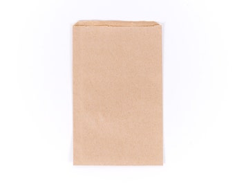 "50 Kraft Brown Paper Bags 5 x 7.5"" Small / Medium - Merchandise - Foodcrafting - Candy Buffet - Craft Fairs - Treats - Favors - 5x7.5 Bags"