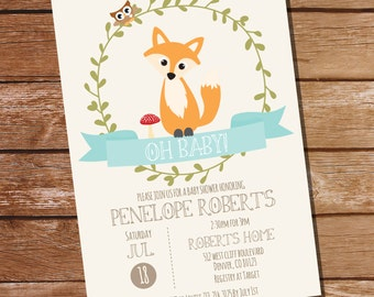 Fox Baby Shower Invitation in Teal Blue - Teal Baby Shower - Instant Download and Editable File - Personalize at home with Adobe Reader