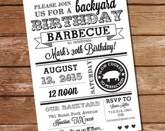 Black and White Birthday BBQ Invitation - Birthday BBQ - Instant Download - Editable File - Personalize at home and Print with Adobe Reader