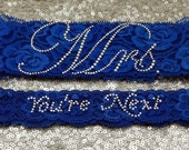 "Wedding Garter Set - Royal BLUE Bridal Garter with SILVER Rhinestone ""Mrs"" Show Garter & Rhinestone ""You're Next"" Toss Garter - other colors"