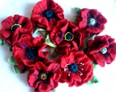 Felted Flower Tutorial, Felted Poppy, How to Make Felted Flowers, Flower Making, Wool Flower, Wet Felting, Felt, Pin, Brooch, Beaded,PDF