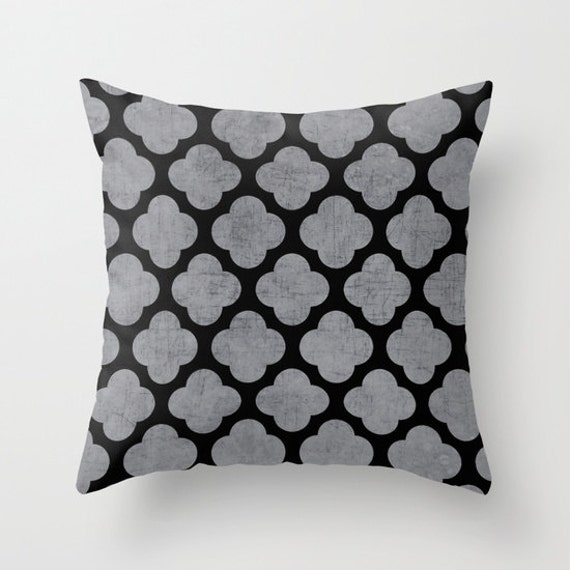 Black And Silver Decorative Pillows : Silver and Black Clover Throw Pillow by LushTartArtProject