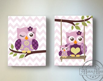 Toddler Girls Room Art Owl Nursery Wall Art Canvas Art Set Canvas Reproduction in Match with Plum Owl Meadow Nursery