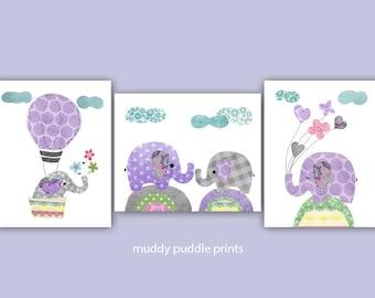 Purple and Grey Nursery prints, Girls Nursery decor, Elephants, Kids room wall art, Hot air Balloon, - Purple Grey Elephant Special