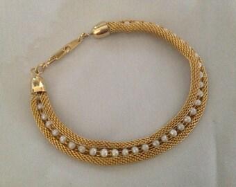 Vintage Mesh Pearl Bracelet