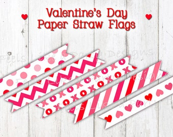 Valentine's Day Paper Straw Flags - Instant Download