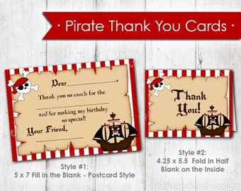 Pirate Thank You Cards- Instant Download