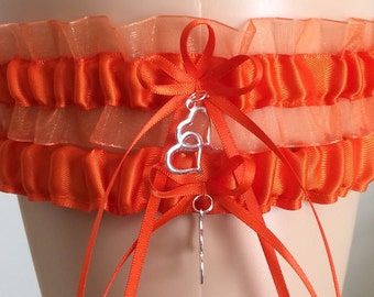 Orange Organza Wedding Garter Set, Bridal Garter Sets, Prom Garter, Keepsake Garter, Wedding Gift, Garters