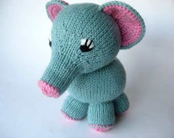 Toy for a child, Nursery toy, Baby, showers, Knitted Elephant, pure wool, Elephant, Stuffed plush,