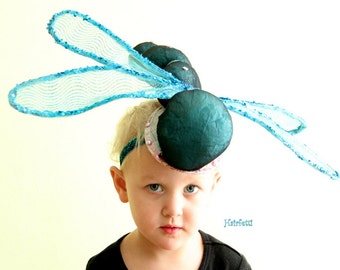 Teal Dance Headpiece, Dragonfly fascinator, Dance costume, dragonfly headpiece, dragonfly costume, insect headpiece