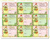 Lucky Pug for a Puggy  Christmas 9 Gift Tags in Red and Green Instant Digital Download