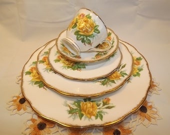 Vintage Tea Rose (Yellow) by Royal Albert England,5 Piece Hostess Set, Discontinued Pattern Bone China for Floral Chic Lovers