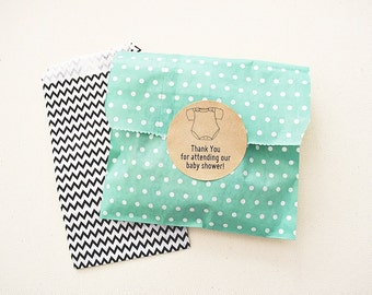 Medium Green Polka Dots Candy Treat Bags. Birthday Party Favor Bags / Pouches / Envelopes. Paper Bags. Party Favors